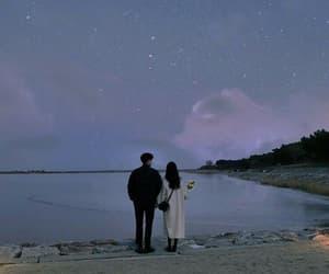 couple, purple, and sky image