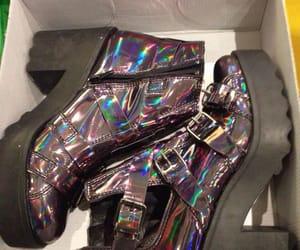 fashion, hologrÁfic, and shoes image