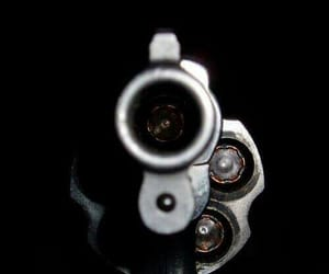 gun, black and white, and bullet image