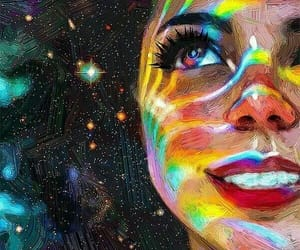 art, rainbow, and stars image