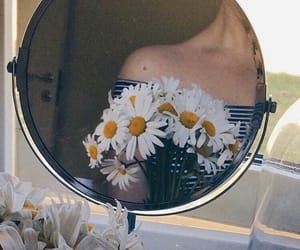 flowers, girl, and mirror image
