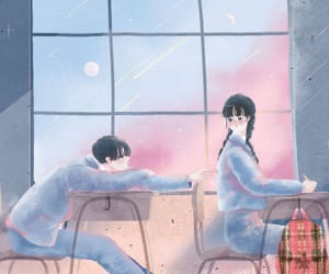 art, couple, and illustration image