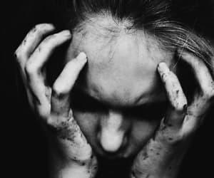 dark, black and white, and sad image