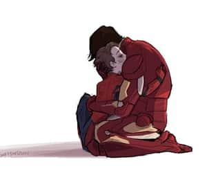 iron man, sad, and spiderman image
