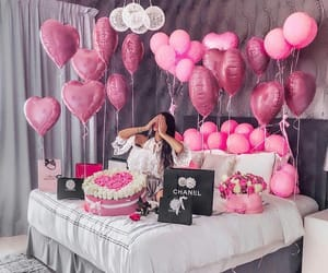 pink, balloons, and girl image