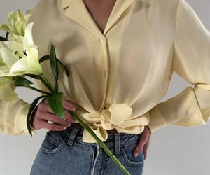 beauty, makeup, and yellow blouse image
