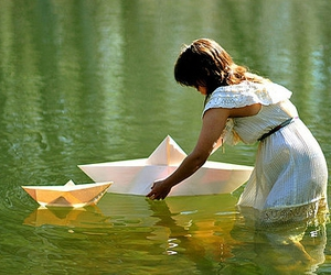 boat, girl, and water image