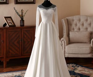 bridal gown, see-through, and wedding image