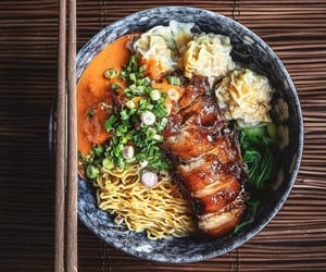 chinese food, dumpling, and noodles image
