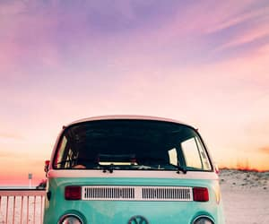 beach, hippie, and bus image