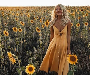 sunflower, dress, and girl image