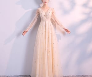 evening dress, formal dress, and champagne dress image