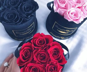 black, bouquet, and flowers image