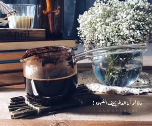 black coffee, coffee, and flowers image