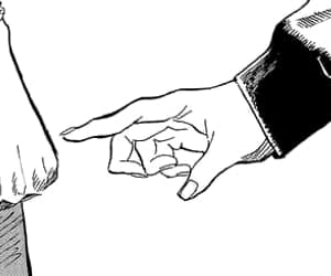 anime, black and white, and hand image
