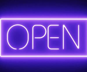 neon, purple, and open image