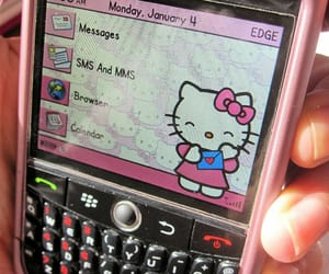 blackberry, cell phone, and hello kitty image