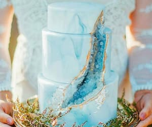 cake, blue cake, and food image