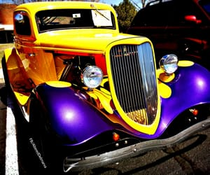 yellow, street rod, and hot rods image