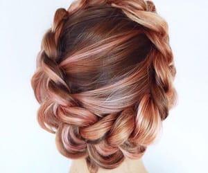 hair, pink hair, and beach image