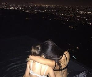 girl, best friends, and night image