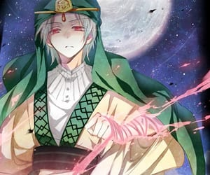anime, moon, and red eyes image