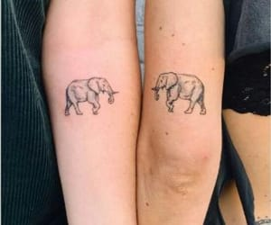 girls, tattoo, and elephant image