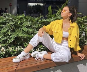 outfit, white, and yellow image