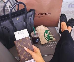 starbucks, Louis Vuitton, and travel image