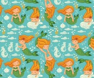background, fishes, and mermaids image