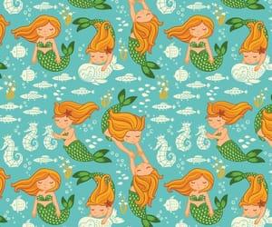 fish, background, and mermaid image