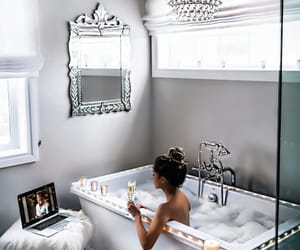 girl, bath, and bathroom image