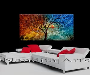 Abstract Painting, blue painting, and tree wall art image