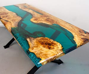 etsy, live edge wood, and resin table image