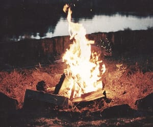 camping, fire, and woodsy image