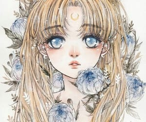 anime, blue eyes, and flowers image