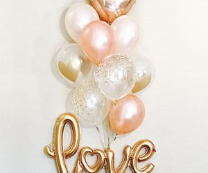 balloons, gold, and love image