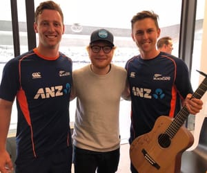 ed sheeran, black caps, and cricket image