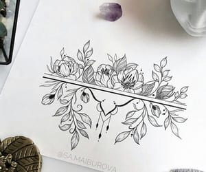 drawing, flowers, and illustration image