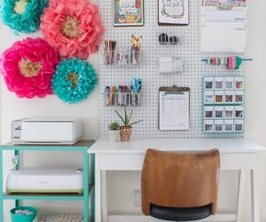 crafts, desk, and flowers image