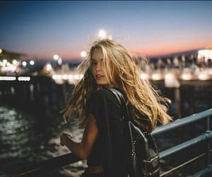 girl, night, and blonde image