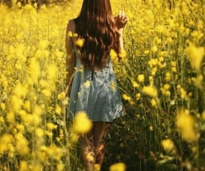 yellow, girl, and flowers image