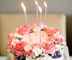 cake, birthday, and flowers image