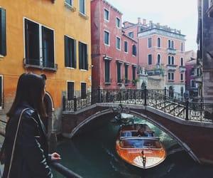 boat, venice, and bridge image
