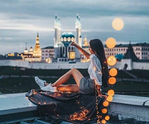 city, girl, and lights image
