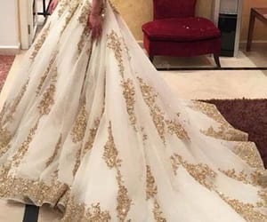 two pieces wedding dress, glitter wedding dress, and gold bridal ball gown image
