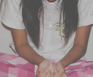 bubbles, long hair, and girl image