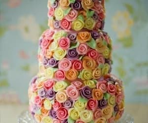 cake, roses, and flowers image