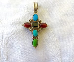 etsy, cross pendant, and turquoise cross image