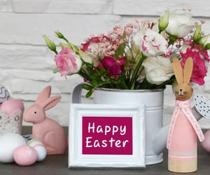 bunny, eggs, and flowers image